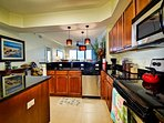 Granite counter tops and stainless steel appliances in the kitchen