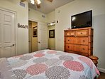 1st guest room has a flat screen TV and attached bathroom.