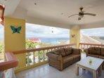 Shady living area first floor overlooking the Caribbean Ocean.