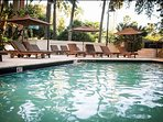 Tropical sun deck and heated pool. Complimentary pool towels available.