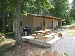 Open picnic patio with gas grill