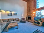 Fireplace, TV seating and Lake View