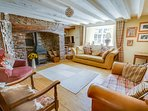 The Lounge with inglenook fireplace - Barnfield Holiday Cottage North Devon