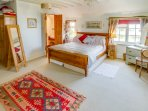 Master bedroom with King-size bed and en-suite bathroom, Barnfeld Holiday Cottage, North Devon