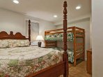 Lower Level Guest Bedroom w/ queen and set of bunk beds