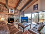 TV Fireplace and Lake View