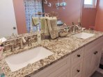 Remodeled master bath with double sinks