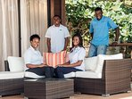 The extraordinary Villa Pierre team: Left to right: Alina, Kersheik, Shanice and Skinner.