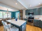 Kitchen with Center Prep Island & Breakfast Bar