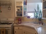 Remodeled kitchen. It's clean and has everything you need. Cleaning prod's are natural 'n chem free.