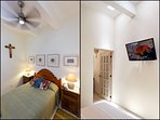 Ceiling fans ensure a constant flow of fresh air. There is cable TV and high speed Wi-Fi.