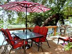 Take a break from the heat under the shaded patio set.