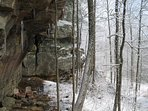 Rock Shelter During Winter At Big Rock Log Cabin.