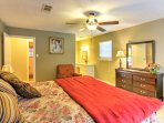 The master bedroom comes complete with a cozy king bed and private en suite bathroom.
