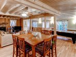 Gather around the dining table set for 8 and enjoy home-cooked meals.