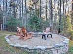 Roast a marshmallow around the outdoor fire pit.