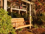 Swing your troubles away in the sweet porch swing overlooking Lake Norman.