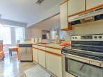 Create a home cooked meal in the well-equipped kitchen, complete with a coffee maker.