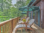 Sit out on the private furnished porch to take in the unbeatable mountain views surrounding you.