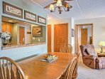 Guests can enjoy their home-cooked meals at the dining table.