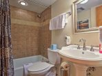 Each of the bathrooms has all of the linens and toiletries you'll need during your stay.