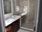 Refresh in the walk-in jetted shower.