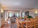 Enjoy family dinners seated at the 8-person dining room table.