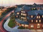 The resort overlooks Newport Harbor