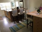 Double-island kitchen with bar and seating