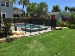 The pool has a child safety fence which will be erected for you on request