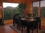 Your Cabin Dining Room Table with great views Seats 6.  This is on the cabin's main floor.