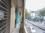 Balcony with street view.