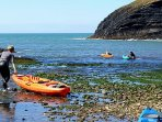 Ceibwr Cove a wonder place for a spot of kayaking with lots of wild birds, seals and caves