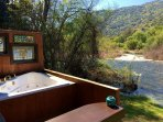 Jacuzzi bathtub overlooking the river