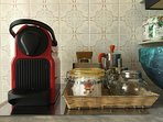 Kitchen with oven, microwave, refrigerator, coffee machine, kettle, toaster