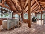 Large open chef grade kitchen perfect for family gatherings.