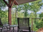 Master bedroom private deck with fantastic views of the mountains.