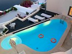 The largest and deepest private access only swimming pool in Oia, naturally heated + jacuzzi.