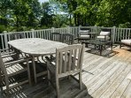 Large deck with plenty of seating