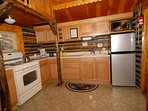 Log Cabin Kitchen With all appliances.   Fully Equipped for Vacation Meal Preparation.