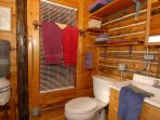 Always Squeaky Clean Log Cabin Bath with Shower and plenty of towels & Wash Cloths