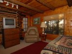 TV. DVD & CD Library. Large Old World hand made 15 light windows bring in Spectacular Sunrises