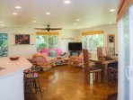 The great room encompasses the living room, dining room and open kitchen.