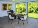 Large shady lanai with outdoor dining, ceiling fans, BBQ