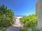 A convenient path allows for easy access to the beach.