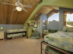 The kids will love this bright bunk bedroom with high ceilings and, you guessed it, more views. There are two twin beds...