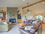 Comfortable amenities welcome 8 guests for an unforgettable mountain retreat.