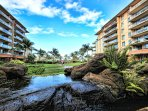 Beautiful Koi ponds and gardens surround the Honua Kai properties.
