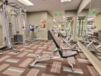In addition to cardio equipment, the gym has weight training equipment