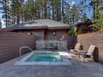 The outdoor hot tub is great for soaking following a day on the slopes - available year round.